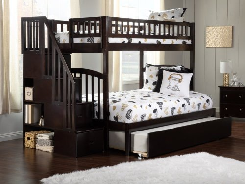 Westbrook Staircase Bunk Bed Twin over Full with Urban Trundle Bed in Espresso