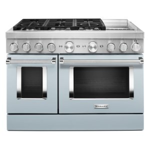 KitchenAidKitchenAid® 48'' Smart Commercial-Style Dual Fuel Range with Griddle - Misty Blue