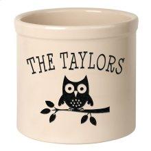 Personalized Owl 2 Gallon Stoneware Crock - Black Engraving / Bristol Crock
