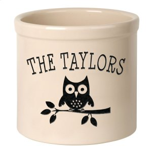 Personalized Owl 2 Gallon Stoneware Crock - Black Engraving / Bristol Crock Product Image
