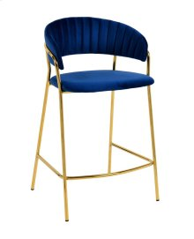 Padma Navy Velvet Counter Stool - Set of 2