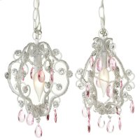 Mini White Chandelier with Pink Dangles (2 asstd). 25W Max. Plug-in with Hard Wire Kit Included. Product Image