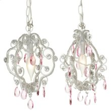 Mini White Chandelier with Pink Dangles (2 asstd). 25W Max. Plug-in with Hard Wire Kit Included.