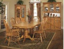 "Double Pedestal Laminated Table w/2-12"" Leaves;Board Trestle w/ Empire Feet"