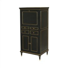 Black Lacquer Finished Bar Cabinet, Gold Gilded Accents, Black Leather Inlay