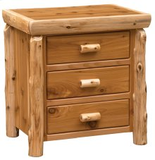 XL Three Drawer Nightstand Natural Cedar