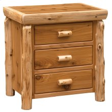XL Three Drawer Nightstand - Natural Cedar