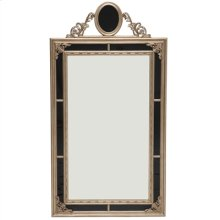 BLACK REVERSED PAINTED MIRROR WITH VINTAGE SILVER GILT ACCEN TS