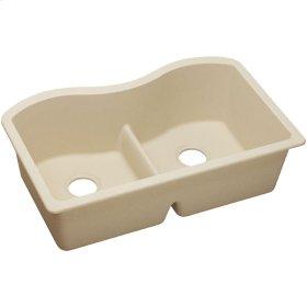 "Elkay Quartz Classic 33"" x 20"" x 9-1/2"", Equal Double Bowl Undermount Sink with Aqua Divide, Sand"