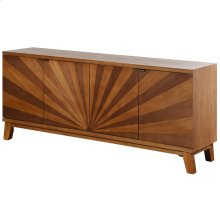 Hayden  70in X 16in X 30in  4 Door Starburst TV Cabinet Made of Walnut & Ash Wood Veneers Mdf & W