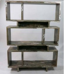 - Five tier bookcase finished in salvaged cabin- Constructed with MDF, particle board, and engineered veneer- Also available in cappuccino, (#801405) white (#801406), and weathered grey (#800554)