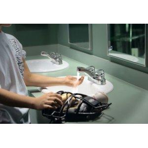 M-PRESS chrome two-handle metering lavatory faucet