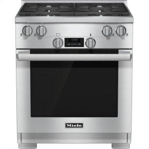 Miele30 inch range Dual Fuel model with DirectSelect controls.