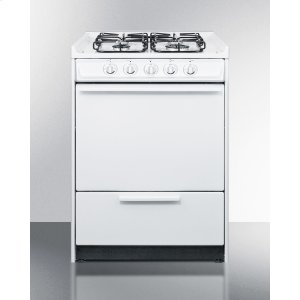 """Summit24"""" Wide Slide-in Gas Range In White With Sealed Burners and Electronic Ignition; Replaces Wnm616r/wtm6107srt"""