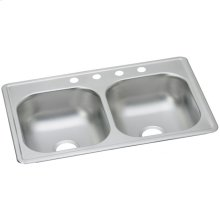 """Dayton Stainless Steel 33"""" x 19"""" x 6-7/16"""", Equal Double Bowl Drop-in Sink"""