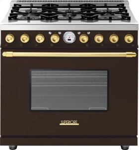 Range DECO 36'' Classic Brown matte, Gold 6 gas, electric oven, self-clean
