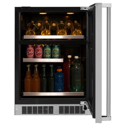 """24"""" Wine and Beverage Center - Panel-Ready Framed Glass Door with Lock - Integrated Right Hinge (handle not included)*"""