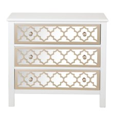 White Drawer Chest with Mirrored Drawer Fronts