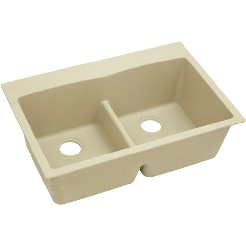 "Elkay Quartz Classic 33"" x 22"" x 10"", Equal Double Bowl Drop-in Sink with Aqua Divide, Sand"