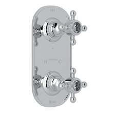 """Polished Chrome Italian Bath 1/2"""" Thermostatic/Diverter Control Trim with Crystal Cross Handles"""