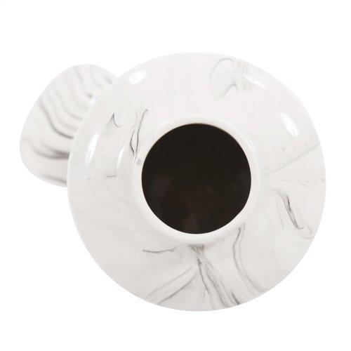 Porcelain White and Black Swirl Tea Jar, Large