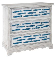Swimming Upstream Antique White 3 Drawer Blue Fish Chest