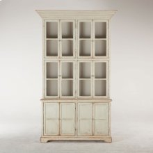 """Library Tall Glass Cabinet 60"""" Antique Light Green"""