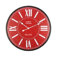 Crimson Station Wall Clock