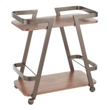Seven Bar Cart - Antique Metal, Walnut Wood
