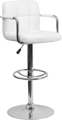 Contemporary White Quilted Vinyl Adjustable Height Barstool with Arms and Chrome Base
