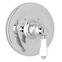 Polished Chrome Campo Thermostatic Trim Plate Without Volume Control with White Porcelain Lever