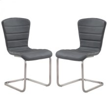 Cameo Modern Side Chair In Stainless Steel With Gray - Set of 2