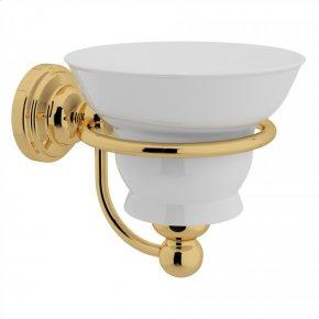 English Gold Perrin & Rowe Edwardian Wall Mount Porcelain Soap Dish