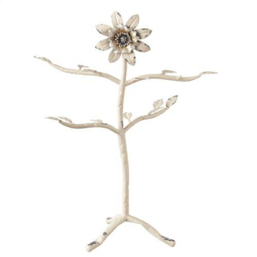 Distressed Ivory Jewel Flower Tree