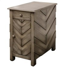 chair side chest has Chevron design on fronts and sides. Chest has lamiate blsck pull out trey with