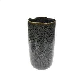 """Ceramic 13"""" Vase, Black"""