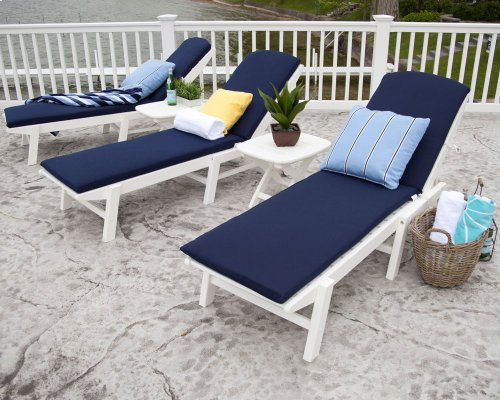White Nautical Chaise with Wheels