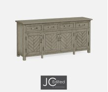 Rustic Grey Parquet Sideboard with Strap Handles