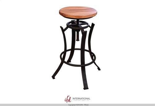 "24-30"" Adjustable Swivel Stool, Parota wooden seat, Iron base Black"