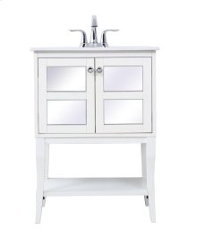 24 in. single bathroom mirrored vanity set in White
