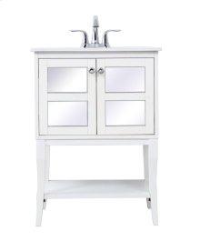 24 in. single bathroom mirrored vanity set in White