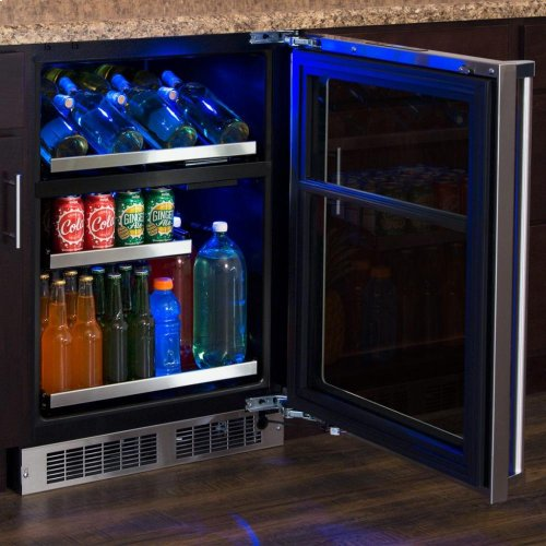 """24"""" Wine and Beverage Center - Panel-Ready Framed Glass Door with Lock - Integrated Left Hinge (handle not included)*"""