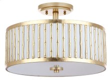 Pierce 3 Light 15.25-INCH Dia Gold Flush Mount - Gold Shade Color: Off-White