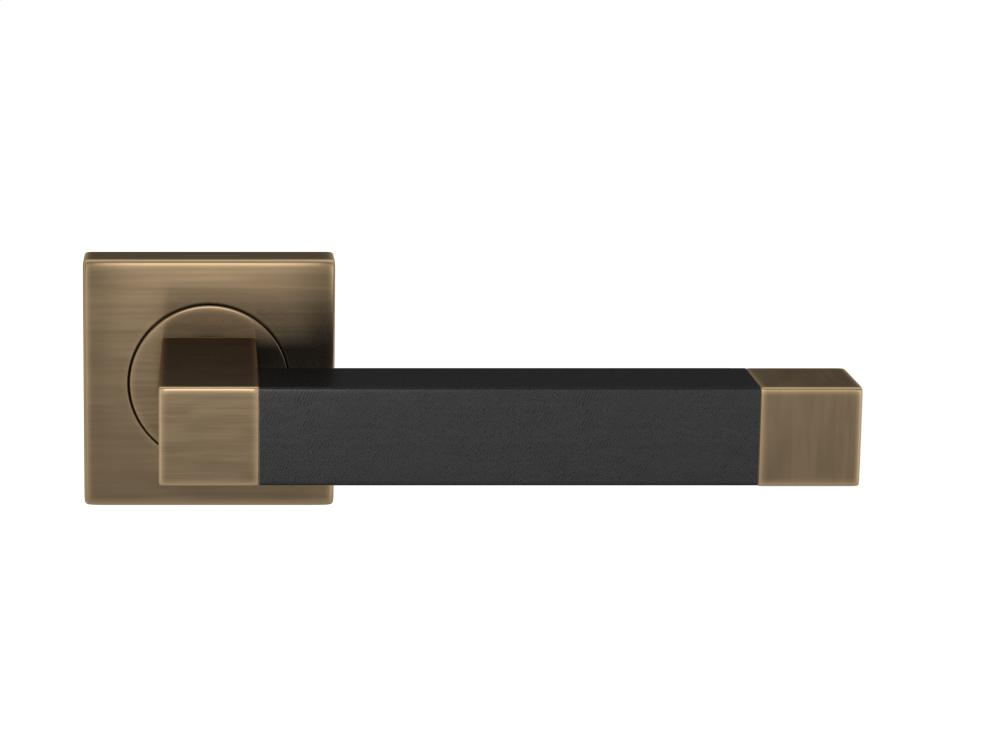 Square Stitch In Recess Leather In Black And Fine Antique Brass