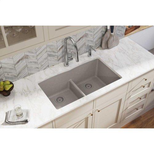 "Elkay Quartz Classic 33"" x 19"" x 10"", Equal Double Bowl Undermount Sink with Aqua Divide, Greige"