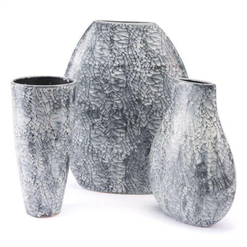 Marbled Lg Vase Black & White