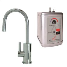 Francis Anthony Collection - Hot Water Faucet with Contemporary Round Body & Handle & Little Little Gourmet® Premium Hot Water Tank - Polished Chrome