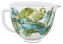 5 Quart Tropical Floral Patterned Ceramic Bowl