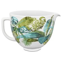 5 Quart Tropical Floral Patterned Ceramic Bowl