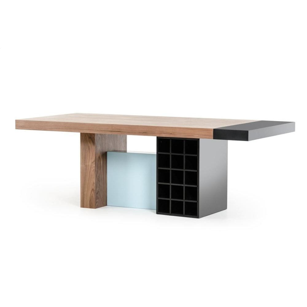 Modrest Aegean Modern Walnut and Teal Dining Table